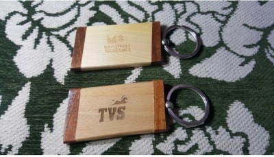 Onlineshoppee Wooden Engraved Key Chain Set of 2 Key Chain