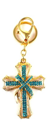 Target retail CROSS WITH TURQUOISE CRYSTAL DIAMOND KEYRING Key Chain