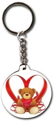Smileonline Love Round Wood 02 Key Chain