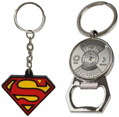 Confident Non Metal Supper Man And Metal 50 Years Calender Key Chain