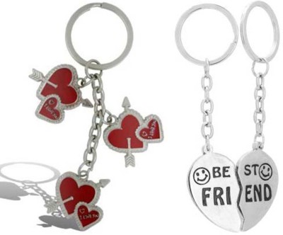 Rashi Traders Arrow 3 Heart + Heart Best Friend Key Chain