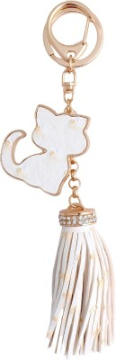 Super Drool White Kitty and Fringes Locking Key Chain
