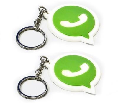 Divinext Designer Whatsapp Logo Soft Rubber Set of 2 Key Chain