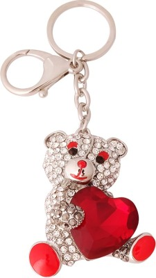 Super Drool Embellished Teddy and Crystal Heart Locking Key Chain