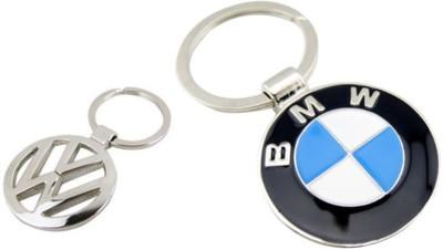 Homeproducts4u Volkswagen & Bmw Logo Metal Keychain Pack of 2 Key Chain