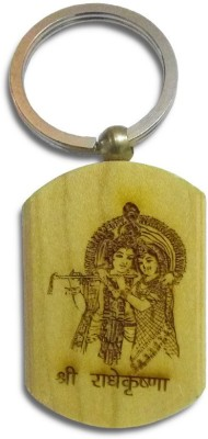 IndiSmack Wooden Radha Krishna Locking Key Chain