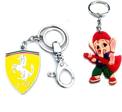 Ezone Farrari Hook & Rubber Ganesh Key Chain