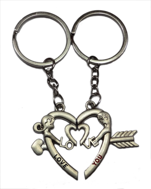 Aditya Traders True Love Magnet Metal Ring Key Chain(Silver)