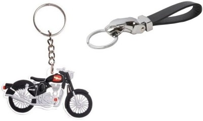 i-gadgets Royal Enfield Bike Shaped and Jaguar Faux Leather Premium Key Chain