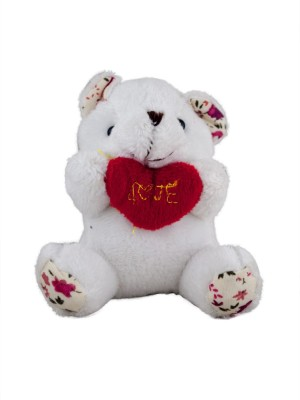 Forty Creek White Teddy Bear Red Love Heart Key Chain