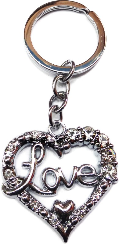 Aditya Traders Valentine For Love Heart With Stone Full Metal Keychain Key Chain(Silver)
