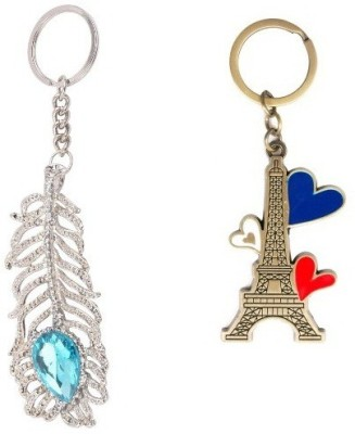 Chainz Oh My God Stone Studded and Eiffel Tower Metal Key Chain