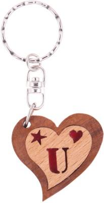 JM Alphabet U Heart Key Chain