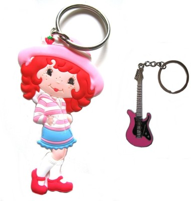 Optimum Deal Cute Cartoon Character Strawberry Princess(M-16) Figure Double Sided Rubber Key Chain