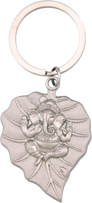 Tech Fashion Ganesh Chrome Metal Leaf Locking Key Chain