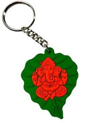 Abzr Abzr Green Leaf Ganesh Rubber Keychain Key Chain