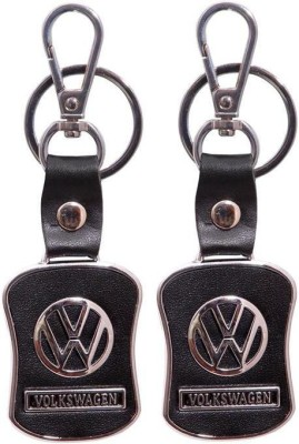 Homeproducts4u Volkswagen Leather Black Metal Locking Keychain - Pack Of 2 Locking Key Chain
