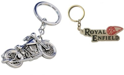 Chainz Metal Chopper Bike and Royal Enfield Re Rubber Key Chain