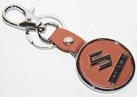 Aura Imported Maruti Suzuki Metal & Leather Round Locking Key Chain