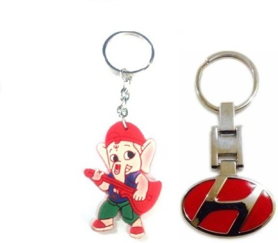 Ezone Imported Hyundai Metal & Rubber Ganesh Key Chain Key Chain