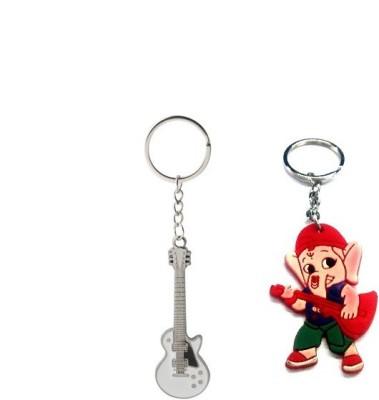 Ezone Guitar & Rubber Ganesh Key Chain Key Chain