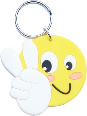 CTW Victory Sign Smiley Big Rubber Keychain Key Chain