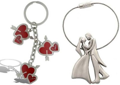 Rashi Traders Arrow 3 Heart + Valentine Couple Key Chain
