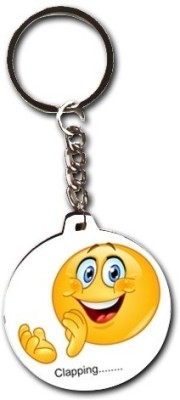 Smileonline Smiley Round Wood06 Clapping Key Chain