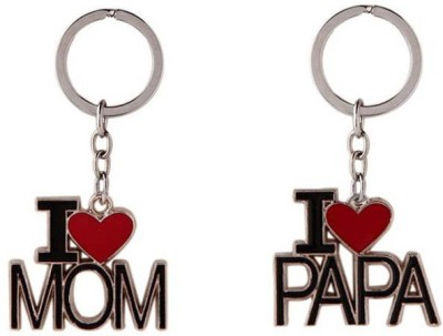 Oyedeal Set of I Luv Mom & Papa Carabiner