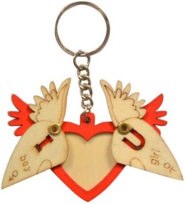 Anishop Pine Wood Cute Heart Wings Key Chain