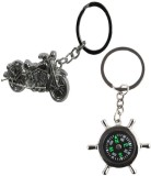 Alexus Compass And Bike Key Chain (Silve...