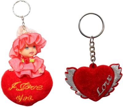 CTW Love you Velvet Heart Wings Valentine Key Chain