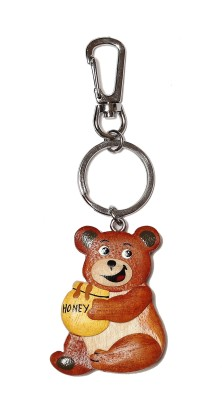 Thinksters Handcrafted Wooden Bear Keychain Locking Carabiner