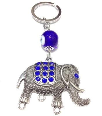 Tech Fashion Elephant Shape Blue Eye Ball Beads Locking Key Chain