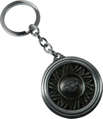 Techpro SilverColour Metal Keychain With Doublesided Harley-Davidson Motorcycle Tyre design Key Chain