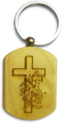 IndiSmack Wooden Holy Cross Locking Key Chain