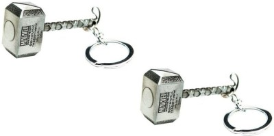 Chainz Pack of 2 Silver Thor Metal Hammer Key Chain