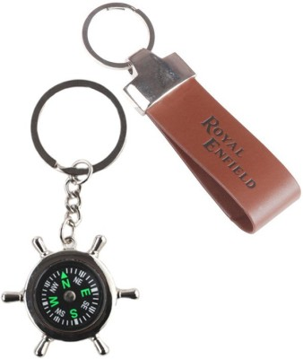 Alexus Compass And Royal Enfield Leather Key Chain