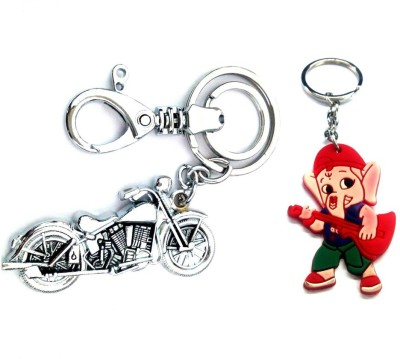 Ezone Bullet BIke & Rubber Ganesh Key Chain Locking Key Chain