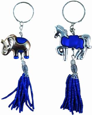 CTW Elephant & Horse Beads Blue Hanging Keyring Acrylic Key Chain