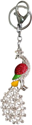 i-gadgets Pearl Peacock Stone Studded Red Designer Key Chain