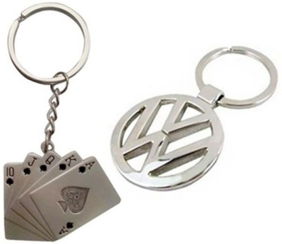 Homeproducts4u Volkswagen & Playing Cards Metal Keychain Combo Key Chain