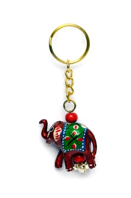 Lamha Crafts Green Elephant Key Chain