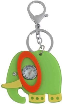Kairos Acrylic Elephant Clock Gift Watch Keychain with Hook(Green) Key Chain
