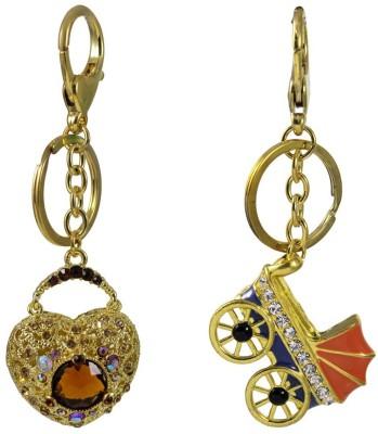 Tootpado Buggy, Heart Shape With Big Stone (Pack Of 2) - 1o156 - Stylish Stone Metal Crystal Keyring Rhinestones Purse Pendant Handbag Charm Key Chain(Multicolour)