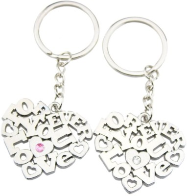 CTW Forever Love You Heart Metal Couple Valntine pack of 2 Key Chain