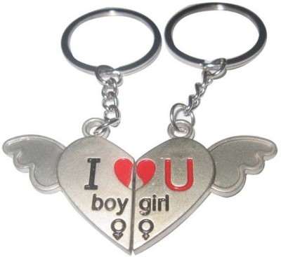 CTW Couple Express Love Metal Heart Wings Key Chain