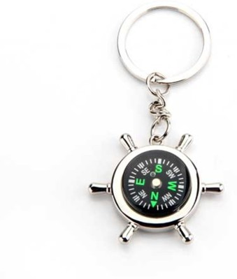 99DailyDeals R90 1 Silver Metallic Chain With Compass For Car Auto Bike Cycle Home Key Ring Key Chain