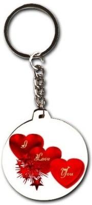 Smileonline Love Round Wood 08 Key Chain