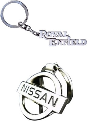 Homeproducts4u Nissan & Royal Enfield Full Metal Key Chain(Silver) (Pack of 2)-26 Key Chain